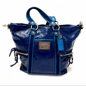 COACH POPPY BLUE PATENT LEATHER TOTE